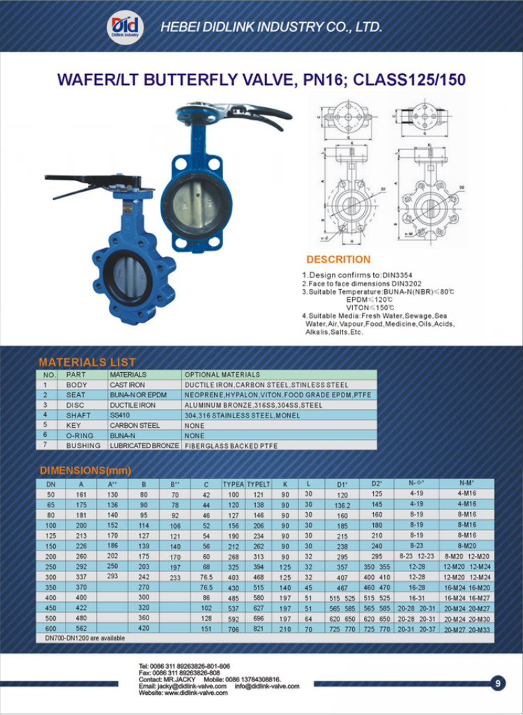 Wafer Type Cast Iron Butterfly Valve, Butterfly Valve